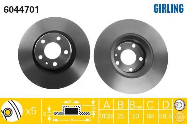 6044701 Диск тормозной AUDI A6 2.0-5.2 04- передний D=313мм.