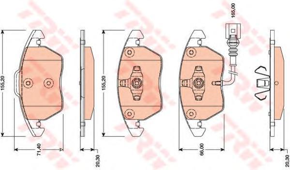 GDB1807 Колодки тормозные AUDI A3 1.2-1.8/TT 1.8-3.2 08-/VW PASSAT 1.4-2.0 10- передние