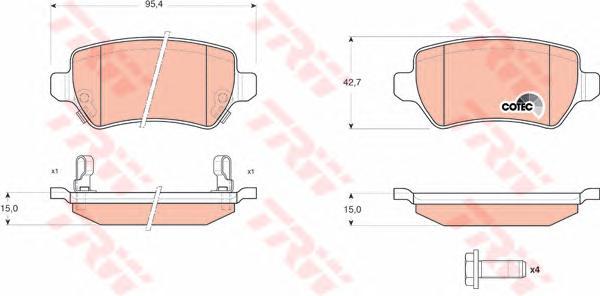GDB1515 Колодки тормозные OPEL ASTRA G/H/ZAFIRA A задние