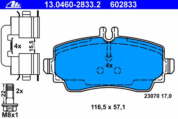 13046028332 Колодки тормозные дисковые передн, MERCEDES-BENZ: A-CLASS A 140/A 160 CDI/A 160 CDI 97-04