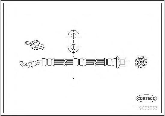 19033533 Шланг тормозной LEXUS: RX 3.3 AWD/300/350 AWD/400h/400h AWD 03-08