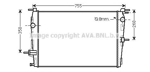 RT2458 Радиатор RENAULT MEGANE/KANGOO/FLUENCE 1.6 08-