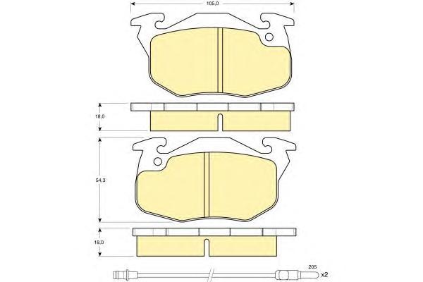 6103273 Колодки тормозные CITROEN ZX/PEUGEOT 306/405/RENAULT 19/CLIO 90-98 перед.2 датч.