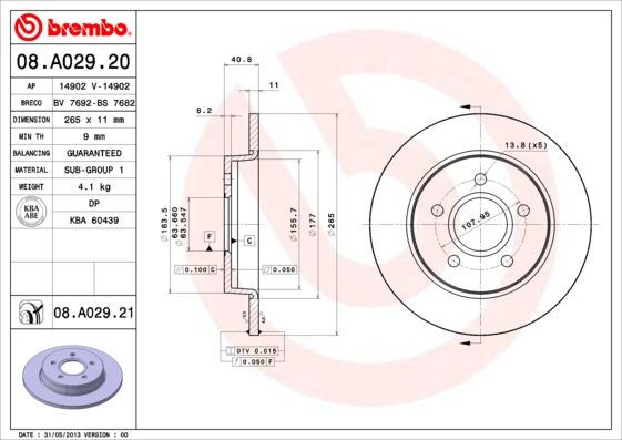08A02920 Диск тормозной FORD FOCUS II 04/C-MAX 1.6/1.8/2.0/2.0D 04 задний