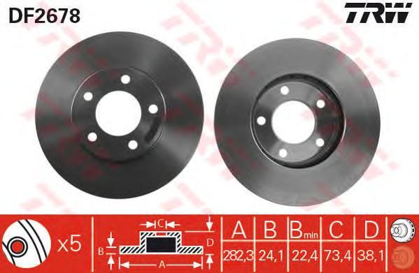 DF2678 Диск тормозной CHRYSLER VOYAGER 84-01 передний вент.D=282мм.