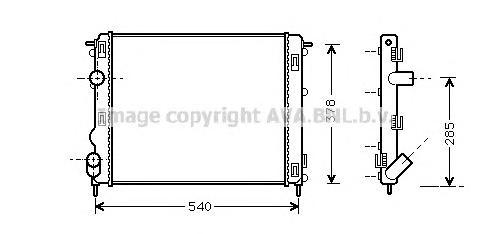 RTA2270 Радиатор системы охлаждения DACIA: LOGAN 1.5 dCi (LS0J) 04 - , LOGAN MCV 1.5 dCi 07 -   NISSAN: KUBISTAR (X76) 1.5 dCi 0