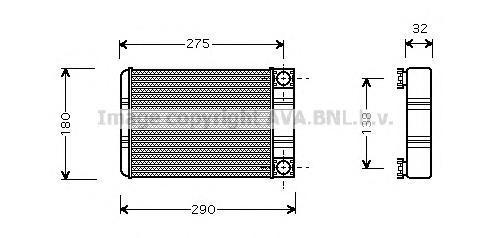 MSA6312 Радиатор отопителя MB: C-CLASS (W203) C 180 (203.035)/C 180 KOMPRESSOR (203.046)/C 200 CDI/C 200 CDI (203.004)/C 200 CDI