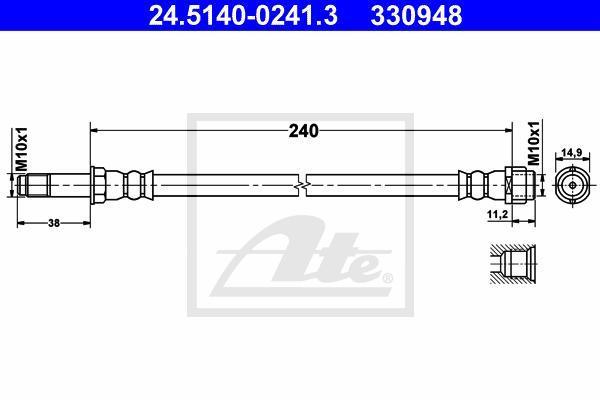 24514002413 Шланг торм.зад.лев.VW T5   240 мм