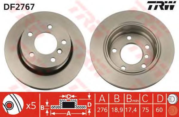 DF2767 Диск тормозной BMW 3 E46 316-323 98-05 задний D=276мм.