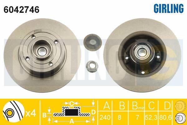 6042746 Диск тормозной RENAULT CLIO III 05-/MEGANE II 02- задний с подшипником