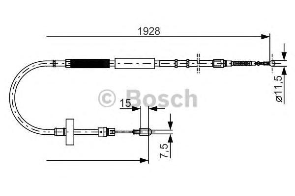 1987477922 Трос ручного тормоза AUDI A4 1928мм