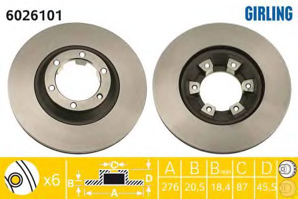 6026101 Диск тормозной MITSUBISHI PAJERO I 2.3-2.6 82-90 передний