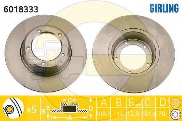 6018333 Диск тормозной LAND ROVER DEFENDER/DISCOVERY/RANGE ROVER 81- передний D=298мм.