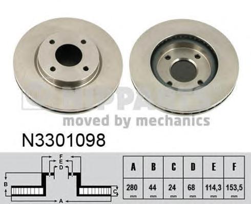 N3301098 Диск тормозной NISSAN TIIDA 07- передний вент.D=280мм.