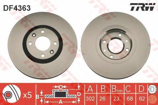 DF4363 Диск тормозной CITROEN C4 1.6-2.0 04-/PEUGEOT 307 2.0 03- передний вент.D=302мм.