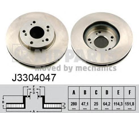 "J3304047 Диск тормозной HONDA ACCORD 2.0-2.4 R15"" 03-08 передний"