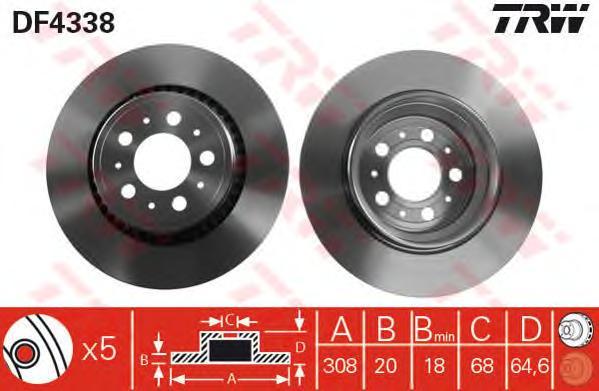 DF4338 Диск тормозной VOLVO XC90 02- задний
