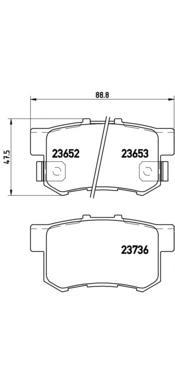 P28039 Колодки тормозные HONDA ACCORD 90-/CIVIC 97-/CR-V II/FR-V/PRELUDE 92-00 задние