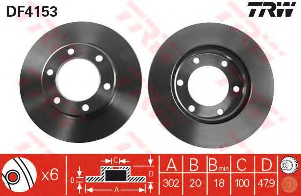 DF4153 Диск тормозной TOYOTA LAND CRUISER 2.4-4.2 75-96 передний
