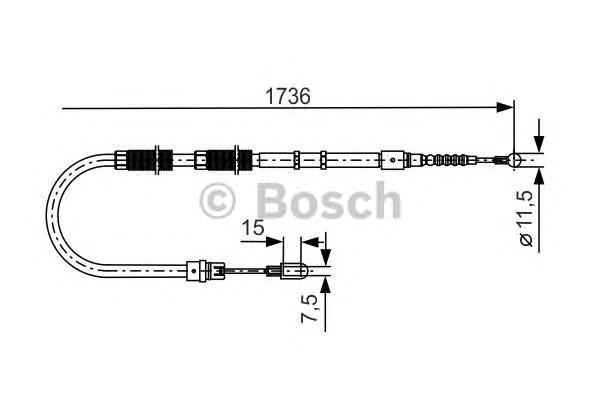 1987477257 Трос ручного тормоза AUDI A4 quattro -08 1736мм