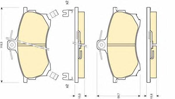 6111971 Колодки тормозные MITSUBISHI CARISMA 1.6-1.9D 95-06 передние