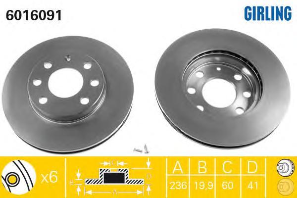 6016091 Диск тормозной CHEVROLET LANOS/AVEO/SPARK/ASTRA F/CORSA B/VECTRA A передний вент