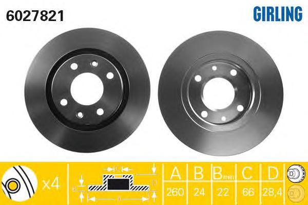 6027821 Диск тормозной PEUGEOT 406 1.6-1.9 95-04 передний D=260мм.