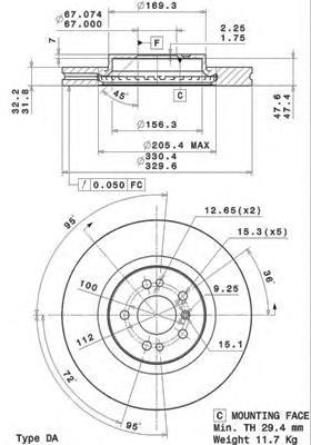 09R10411 Диск тормозной MERCEDES ML W164/R W251 280-350 05- передний вент. D=330мм.