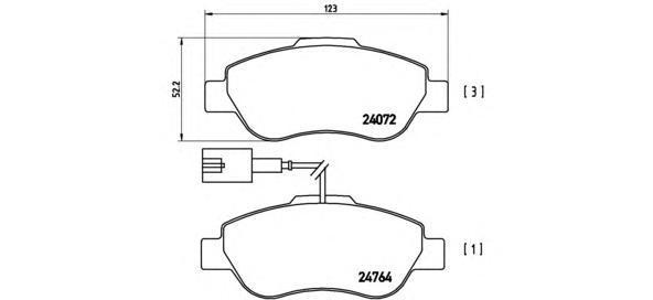 P23107 Колодки тормозные FIAT 500 07-/DOBLO 01-/PANDA 09-/QUBO 08- передние