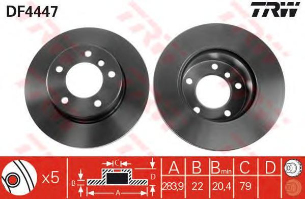 DF4447 Диск тормозной BMW 1 E81/E87 1.6/2.0 04- передний вент.