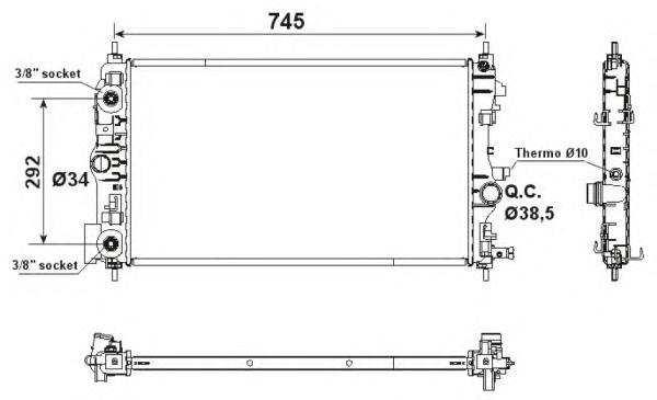 53159 Радиатор OP Astra J, CHE Cruze 1.4-1.6Turbo