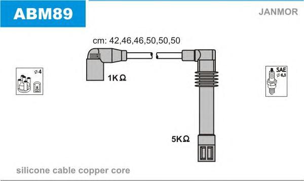 ABM89 Комплект проводов зажигания AUDI: A4 95-00, A4 00-04, A4 Avant 95-01, A4 Avant 01-04, A6 97-05, A6 Avant 94-97, A6 Avant 9