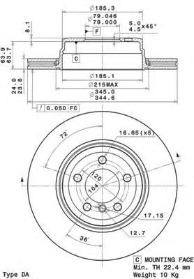 09A71211 Диск тормозной BMW E65/E66 730-760 03- задний вент.D=345мм.