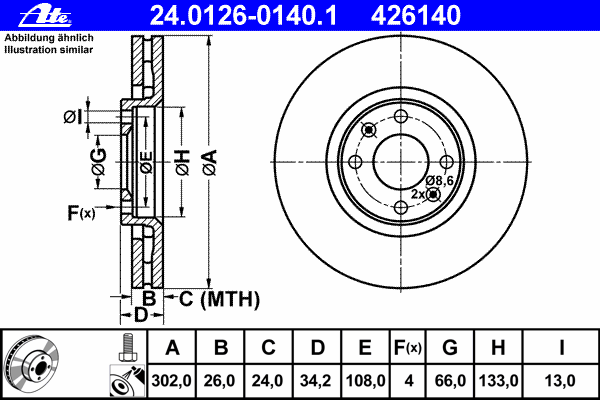 24012601401 Диск тормозной передн, CITROEN: C4 2.0 16V/2.0 HDi 04-, C4 Grand Picasso 1.6 16V/1.6 THP 155/2.0 HDi 138/2.0 HDi 150