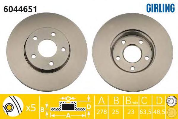 6044651 Диск тормозной FORD FOCUS II/III/C-MAX 03-/VOLVO S40 04- передний вент.D=278мм.