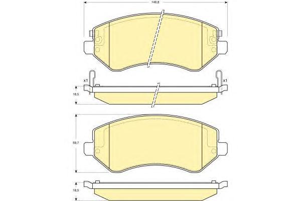 6141261 Колодки тормозные CHRYSLER VOYAGER 2.4-3.3 00-/JEEP CHEROKEE 2.4-3.7 01-передние