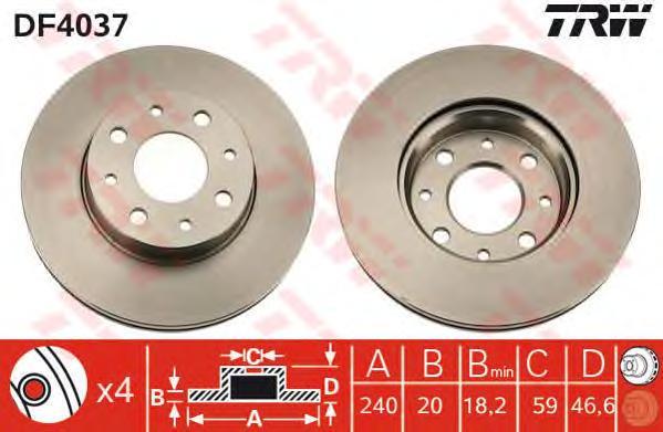 DF4037 Диск тормозной FIAT ALBEA 1.0-1.6 96-/PALIO 1.0-1.6 96-01 передний