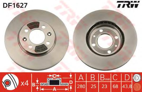 DF1627 Диск тормозной SAAB 9000 84-98 передний вент.D=280мм.