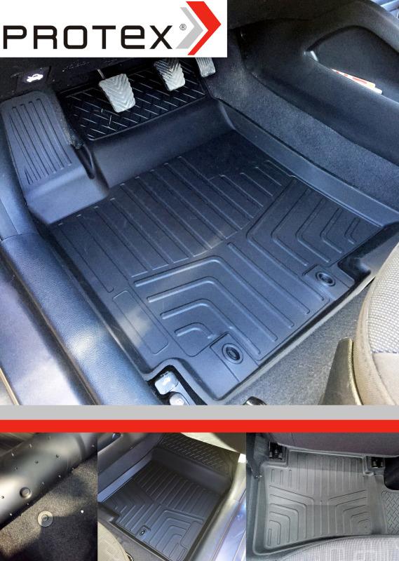 138060011 Комплект автомобильных ковриков Toyota Corolla 2013-, резина, высокий борт, 4 предмета, перемычка заднего ряда, выпукл