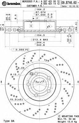 09B74661 Диск торм. окраш. перф. Fr MB E(A207/C207) 09-