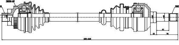 218009 Привод в сборе FORD GALAXY/VW SHARAN 1.8T-2.8 95-00 лев.+ABS МКПП