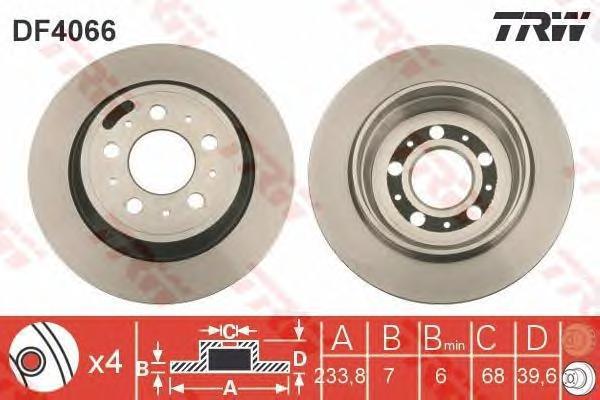 DF4066 Диск тормозной VOLVO S60 00-/S80 98-06/V70 97-/XC70 00- задний