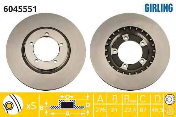6045551 Диск тормозной MITSUBISHI L400 95-05 передний вент.D=276мм.