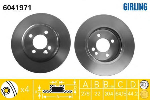 6041971 Диск тормозной MINI COOPER/COOPER S/ONE 1.4-1.6 01- передний вент.D=276мм.