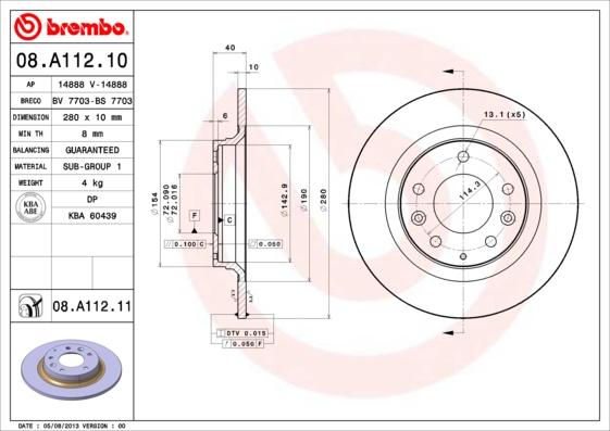 08A11211 Диск тормозной MAZDA 6 07/MX-5 08/MAZDA 323 0104/MAZDA 626 9902 задний