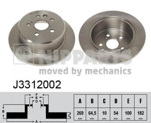 J3312002 Диск тормозной TOYOTA CAMRY 86-91/CELICA 85-94 задний D=269мм.