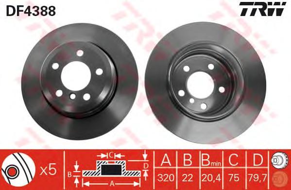 DF4388 Диск тормозной BMW X3 E83 2.0-3.0 04- задний