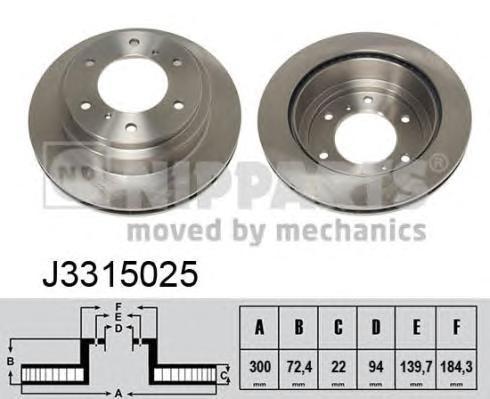 J3315025 Диск тормозной MITSUBISHI PAJERO 00-/PAJERO SPORT 98- задний вент.D=300мм.