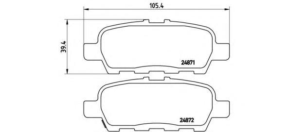 P56068 Колодки тормозные NISSAN X-TRAIL/QASHQAI/TIIDA/INFINITI FX/RENAULT KOLEOS задние
