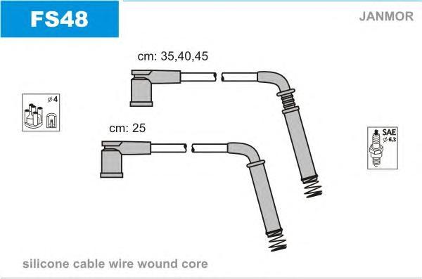 FS48 Комплект проводов зажигания FORD: FOCUS 1.6 02-04, FIESTA 1.3 01-, KA 1.3/1.6 02-, STREET KA 1.3 03-05